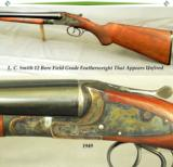 "L. C. SMITH- 12 BORE THAT REMAINS as NEW & APPEARS UNFIRED- 98% ORIG COND- 1949- 28"" Bbls.- 99% ORIG CASE COLORS - 1 of 4"