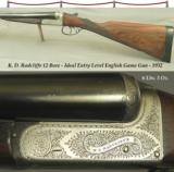"""RADCLIFFE 12 BOXLOCK EJECT- IDEAL ENTRY LEVEL ENGLISH GAME GUN- 1932- 90% ENGRAVING COVERAGE- DT- 25"""" BARRELS- 1 of 5"""