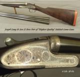 "JOSEPH LANG 12 SIDELOCK PAIR- VERY NICE 1913 PAIR- BUILT for C. LEDYARD BLAIR- #1 GUN with an EXTRA BARREL- ALL 28"" CHOPPER LUMP - 2 of 10"