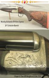WESTLEY RICHARDS 470- A TRUE & FULL SIZE PROPER 470 at 12 Lbs. 3 Oz.- EXC BORES w/ SHARP RIFLING- 85% ENGRAVING COVERAGE- TOUGH - 1 of 4