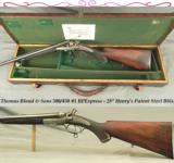 THOMAS BLAND- 500/450 #1 EXP- EXC PLUS BORES- VERY NICE UNDERLEVER HAMMER RIFLE- HENRY'S PATENT STEEL BARRELS