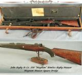 RIGBY 350 MAG RIMLESS- SINGLE SQUARE MAG MAUSER- BUILT in 1924- EXC PLUS BORE- ORIG CASE- EVERY SERIAL # MATCHES - 1 of 7