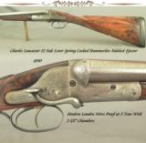LANCASTER 12 SIDELEVER HAMMERLESS EJECT SIDELOCK- 1890- LONDON N P 30