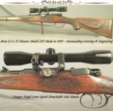 BRNO 6.5x57 MADE in 1947- OUTSTANDING ENGRAVING & STOCK CARVING- MOD 22F- NEAT SMALL RING MAUSER ACTION- FULL LENGTH STOCK