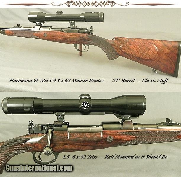 hartmann weiss in 9 3 x 62 mauser action claw mounts with a rail