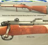 "DAKOTA 7mm-08 REM. MOD 97 VARMINT HEAVY BARREL- 24"" BARREL- SATIN BLUE- DAKOTA SHORT 97 ACTION- SCOPE BASES- 3 SHOT GROUP at 5/16"""
