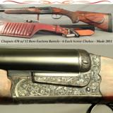 CHAPUIS 470 w/12 BORE FACTORY Bbls.- ALMOST as NEW- MOD BROUSSE- EXC WOOD- 90% ENGRAVING- 96% OVERALL COND- 6 SCREW CHOKES- TRIJICON