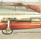J. P. SAUER 30-06- MADE in 1930- COMMERCIAL MAUSER ACTION- HALF ROUND HALF OCTAGON w/a FULL LENGTH MACHINED INTEGRAL RIB- BORE as NEW