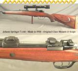 JOHANN SPRINGER7 x 64 MADE in 1938- MAUSER ACTION- ORIG CLAW MOUNTS w/ KAHLES 4X60- 1/4 RIB- DOUBLE SET TRIGGERS- 20% ENGRAVING- EXC. COND.