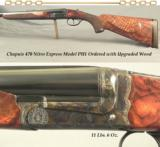 "CHAPUIS 470 MOD PH1- UPGRADED WOOD- 1/4 RIB with EXPRESS SIGHTS- 15 7/16"" LOP- OVERALL COND. at 99%- 11 Lbs 6 Oz.- BORES as NEW- CASE COLORED"