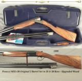 "PERAZZI MX5-20- 28 & 20 BORE ORIG. 2 Bbl. SET- EXC. PLUS COND.- 1999- UPGRADED SUPER WOOD- ORIG. STRAIGHT STOCK- 20 is 27 5/8"" & 28 is 26""-"