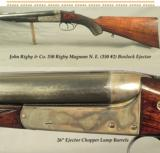 "RIGBY 350 RIGBY MAG N. E. (350 #2)- A VERY NICE 1914 BOXLOCK- 26"" EJECT CHOPPER LUMP Bbls. w/ DOLLS HEAD THIRD BITE- EXC. BORES- SOLID WOOD"