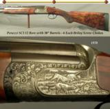 "PERAZZI SC3 12 BORE- 30"" VENT RIB BARRELS- 6 EACH BRILEY SCREW CHOKES- 95% COVERAGE of GAME SCENE ENGRAVING- EXCELLENT WOOD"