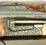 "CHAPUIS 450/400 3"" N. E.- MOD BROUSSE- UPGRADED WOOD- 95% FLORAL ENGRAVING- EAW Q D LEVER PIVOT MOUNTS- 30mm RINGS- AS NEW OVERALL"