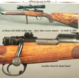 BIESEN 250-3000 ACKLEY IMP.- KURZ SHORT ACTION MAUSER- EXC. WOOD- MADE 1982- BIESEN WRAP AROUND FLEUR-DE-LIS CHECKERING- IDEAL for YOUTH or LADY