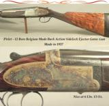 "PIRLET 12 O/U BELGIUM MADE SIDELOCK EJECTOR GAME GUN- 1937- 29 1/4"" SOLID RIB Bbls.- NEAR EXHIBITION WOOD- 97% L. SMEETS ENGRAVING- 29 1/4"""