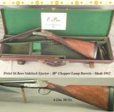 """PIRLET 16 SIDELOCK EJECTOR- 1912- 30"""" EJECTOR CHOPPER LUMP BARRELS- SIDE CLIPS & THIRD FASTNER- 95% COVERAGE of PERIOD SCROLL ENGRAVING"""