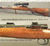RODDA 404 JEFFERY- MADE by AUGUST SCHULER for RODDA- 1928 SUHL MADE MAUSER- TALLEY Q D MOUNTS-1/2 ROUND 1/2 OCTAGON Bbl.
