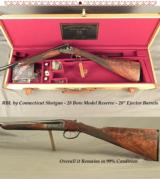 "RBL by CONN. SHOTGUN- 28 BORE- MOD. RESERVE- OVERALL COND. 99%- NICE WOOD- 28"" Bbls.- DOUBLE TRIGGERS- STRAIGHT STOCK at 14 1/2""- CASED"