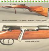 "MANNLICHER SCHOENAUER 7 x 57 MAUSER MOD. MC CARBINE- MADE in 1959- 20"" Bbl.- DOUBLE SET TRIGGERS- OVERALL 96% - TOTALLY ORIGINAL- NICE"