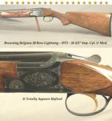"BROWNING BELGIUM 20 BORE- 1972- SQUARE KNOB LONG TANG- 26 1/2"" V R Bbls.- I.C. & M- TOTALLY APPEARS UNFIRED & is a 99% GUN"