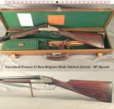 "VOUZELAUD (FRANCE)- BELGIUM MADE 12 BORE SIDELOCK EJECT.- 30"" CHOPPER LUMP Bbls.- ORIG. 2 3/4"" & ORIG. SKEET I & II- NICE WOOD- CASED- 14 9/"