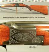 """BROWNING BELGIUM 20- 1958- ROUND KNOB LONG TANG- 28"""" V R Bbls.- CHOKES OPENED to SKT & SKT- SOLID HUNTING PIECE - OVERALL a 92% PIECE- BORES as N"""