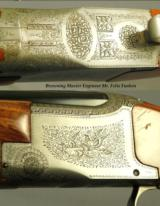 BROWNING BELGIUM PIGEON GRADE 12- FUNKEN ENGRAVED- ORIG. PIECE FROM 1954- ROUND KNOB & LONG TANG- OVERALL 92% PIECE- ORIG. I.C. & M - 2 of 3