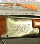 BROWNING BELGIUM PIGEON GRADE 12- FUNKEN ENGRAVED- ORIG. PIECE FROM 1954- ROUND KNOB & LONG TANG- OVERALL 92% PIECE- ORIG. I.C. & M