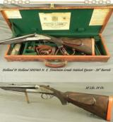 HOLLAND & HOLLAND 500/465 N. E.- DOMINION SIDELOCK EJECT- EXC. PLUS BORES- VERY NICE LEATHER TRUNK- ORIG. STOCK + NEW LEFT HAND STOCK - 1 of 5