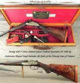 "PURDEY 400 3"" NITRO- MADE for MAHARANA BHUPAL SINGH- STATE of UDAIPUR- MADE in 1928- BORES REMAIN as NEW- ORIG. O&L TRUNK- EXC. WOOD- 8 Lbs."