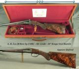 "FOX 20 by CSMC- XE GRADE- EXC. WOOD- VERY NICE ENGRAVING- 28"" KRUPP Bbls.- ABOUT 1995 & APPEARS UNFIRED- DOUBLE TRIGGERS- FACTORY CASED- 14 5/16&"