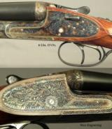 """AYA 16 SIDELOCK EJECT MOD No. 2- MADE 1955- 98% COVERAGE of SCROLL- DOUBLE TRIGGERS- 27 1/2"""" CHOPPER LUMP Bbls.- REMAINS in 99% COND.- NICE WOOD - 2 of 4"""