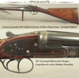 "LEBEAU COURALLY 12- 1932 SIDELOCK EJECT- 30"" WHITWORTH CHOPPER LUMP Bbls.- TOTALLY ORIG. AFTER 86 YEARS- VERY NICE WOOD- BUILT as a PIGEON GUN - 1 of 4"