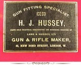 "H.J. HUSSEY 12 IMPERIAL EJECTOR- 1905 PIECE THAT REMAINS in EXC. COND.- 90% ORIG. CASE COLORS- EXC. PLUS BORES- 30"" Bbls.- ORIG. BORES & CHOKES- - 8 of 8"