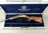 RIGBY 470 N. E. LONDON SIDELOCK EJECTOR- LONDON PROOF 1998- 90% COVERAGE of FLORAL & 3 AFRICAN GAME ANIMALS- EXC. WOOD- OVERALL REMAINS at 98%- CASED
