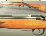 """MANNLICHER SCHOENAUER 9.5 x 57 MS (.375 Rimless N.E.) CARBINE- PATENT MODEL 1910- 19 3/4"""" Bbl.- TOTALLY ORIG.- NEVER DRILLED or TAPPED- E"""