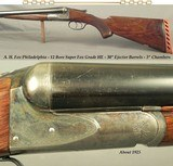 "ANSLEY H. FOX - PHILADELPHIA- 12 BORE SUPER ""HE"" GRADE- 1925- ORIG. 3"" CHAMBERS- 35% ORIG. CASE COLORS- EXC. BORES- 8 Lbs. 10 Oz.- 30&q"