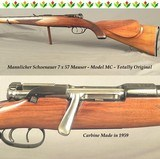 "MANNLICHER SCHOENAUER 7 x 57 MAUSER MOD MC CARBINE- MADE in 1959- 20"" Bbl.- DOUBLE SET TRIGGERS- OVERALL 96%- TOTALLY ORIG.- BORE as NEW"