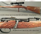 MANNLICHER SCHOENAUER 270 WIN. SUPER DE LUXE (NOT JUST a DE LUXE) MOD. 1952 CARBINE- 90% GAME SCENE ENGRAVING- A LOT of STOCK CARVING- OVERALL
