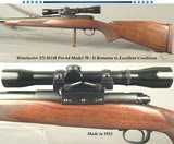 WINCHESTER 375 H&H MOD 70 PRE-64- REMAINS in EXC. COND. & ALL ORIG. EXCEPT G&H SIDE MOUNT ADDED- 1953- 96% OVERALL BLUE- WOOD at 95%- BORE as NEW
