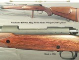 WINCHESTER 458 WIN. MAG. MOD 70 PRE-64 SUPER GRADE AFRICAN- 98% BLUE OVERALL- ORIG. WOOD FINISH at 97%- 1957- THE BORE is EXC.- SLING SWIVELS - 1 of 5