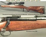 WINCHESTER 300 H&H- PRE-64 MOD 70 CUSTOM- ALL FACTORY WIN. METAL- VERY NICE BASTOGNE STOCK- SWAROVSKI 3-10 x 42- CLASSIC STOCK- EXC. CHECKERING