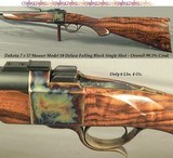 DAKOTA 7 x 57 MODEL 10 DELUXE SINGLE SHOT- EXC. ENGLISH WALNUT with GREAT CONTRAST- APPEARS NEW & UNFIRED- CASE COLORED- OVERALL 99.5% COND.- NICE