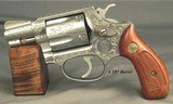 """SMITH & WESSON CLASS """"A"""" FACTORY ENGRAVED MODEL 60 CHIEFS SPECIAL STAINLESS STEEL- 90% COVERAGE OVER THE ENTIRE PIECE- 1 7/8"""" Bbl.- 38 - 2 of 3"""