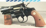 """COLT PYTHON in 357 MAGNUM- 2 1/2"""" VENT RIB BARREL- MADE in 1973- 98% ORIGINAL ROYAL BLUE- 99.5% CONDITIONED CHECKERED WALNUT GRIPS"""