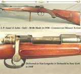 SAUER 30-06- MADE 1930- COMMERCIAL MAUSER ACTION- HALF ROUND HALF OCTAGON w/a FULL LENGTH MACHINED INTEGRAL RIB- BORE as NEW- #'s MATCH