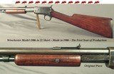 WINCHESTER 22 SHORT MODEL 1906- MADE in 1906 (THE FIRST YEAR of PRODUCTION)- #10304- TAKEDOWN- ORIG. PIECE in NICE COND- RECEIVER BLUE 50% - 1 of 5