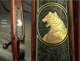 JAEGER, PAUL 7mm REM. MAG.- TOTAL CLAUS WILLIG RELIEF ENGRAVING with a GAME SCENE on the BOTTOM METAL w/GOLD- FN MAUSER ACTION- BUILT 1981 - 2 of 5