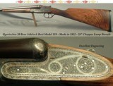 """UGARTECHEA 20 BORE SIDELOCK BEST MOD. 119- 28"""" EJECT CHOPPER LUMP- VERY-WELL CUT ENGRAVING- VERY NICE WOOD- THIRD BITE- SIDE CLIPS- 5 Lbs. 15 Oz."""